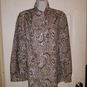 ALFRED DUNNER Button Down Tie Collar Blouse